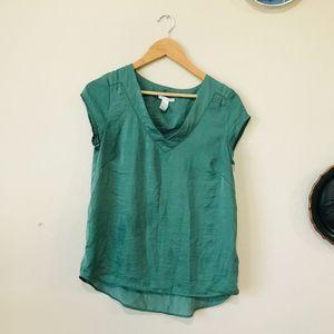 H&M Green V-Neck Short Sleeve Blouse